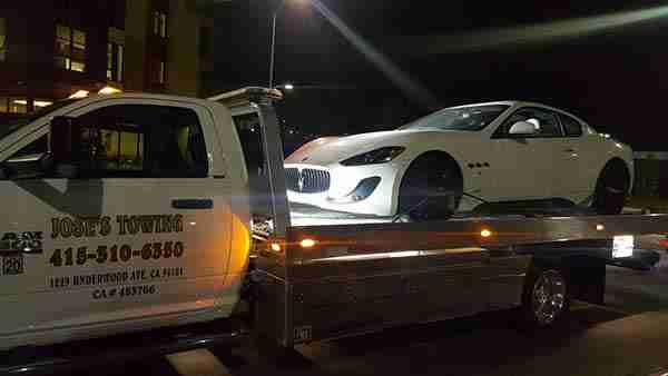 Light Duty Towing Maserati on Flatbed tow truck San Francisco CA